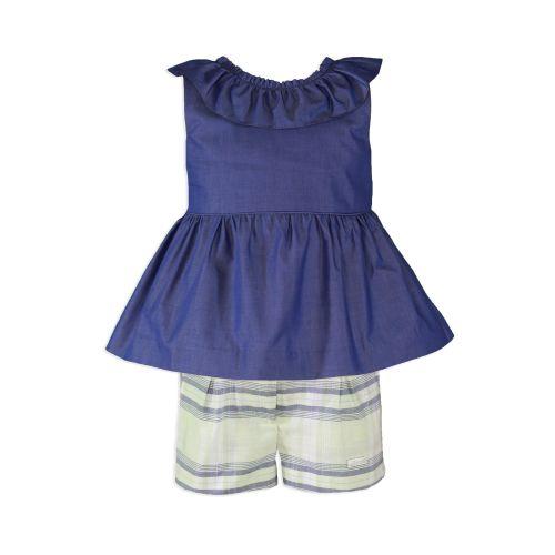 PRE ORDER SS20 Girls Miranda Navy, White and Lemon Shorts Set 604