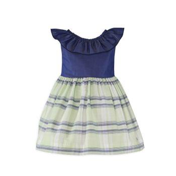 Girls Miranda Navy, White and Mint Dress 604
