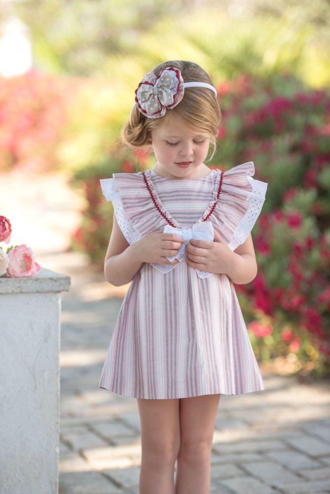 Girls Miranda Navy, Red and White Dress 268
