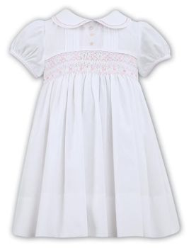 Girls Sarah Louise Heritage Collection Dress 011856 - White with Pink
