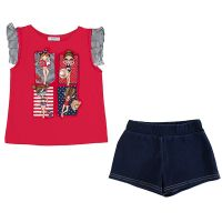 Girls Mayoral Top and Shorts Set 3289 Red