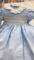 Girls Smocked Dress - Blue with Camel Smocking