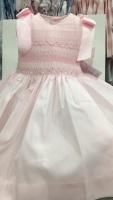 Girls Smocked Dress - Pink with Pink Smocking