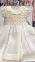 Girls Smocked Dress - Cream with Camel and Pink Smocking