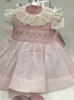Girls Smocked Dress - Pink with Camel and Pink Smocking