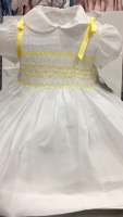 Girls Smocked Dress - White with Lemon Smocking