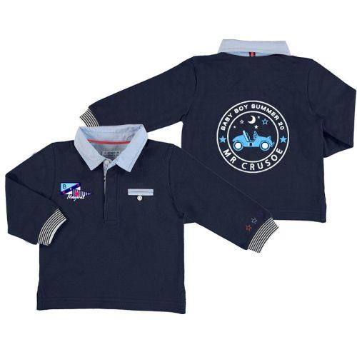 Boys Mayoral Long Sleeve Polo Shirt 1154 - Navy