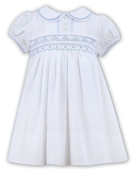 Girls Sarah Louise Heritage Collection Dress 011856 - White with Blue