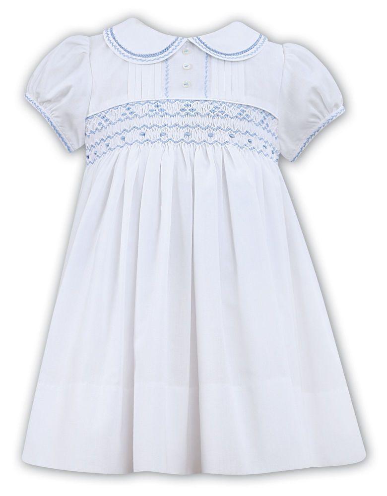 Girls Sarah Louise Dress 011856 - White with Blue