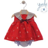 Girls Yoedu Red and Blue Dress and Pants 50