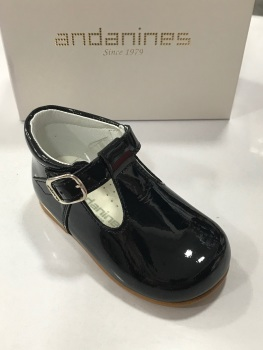 Boys Andanines Navy Patent Shoes 172817