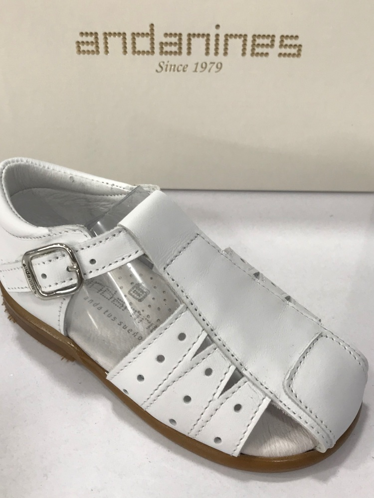 Boys Andanines White Leather Sandals