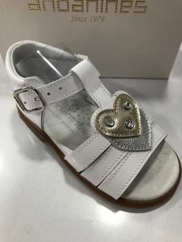 Girls Andanines White Patent Sandals