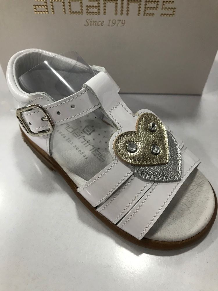 Girls Andanines White Patent Sandals