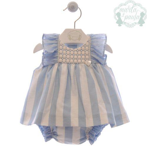 Girls Marta Y Paula Stone Blue and White Dress and Pants 51