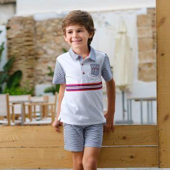 Boys Tutto Piccolo Polo Shirt and Shorts Set 8843, 8343