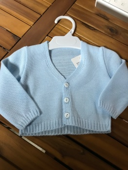 CLEARANCE PRICE Boys Cardigan B954 - Blue.  Available in 6m