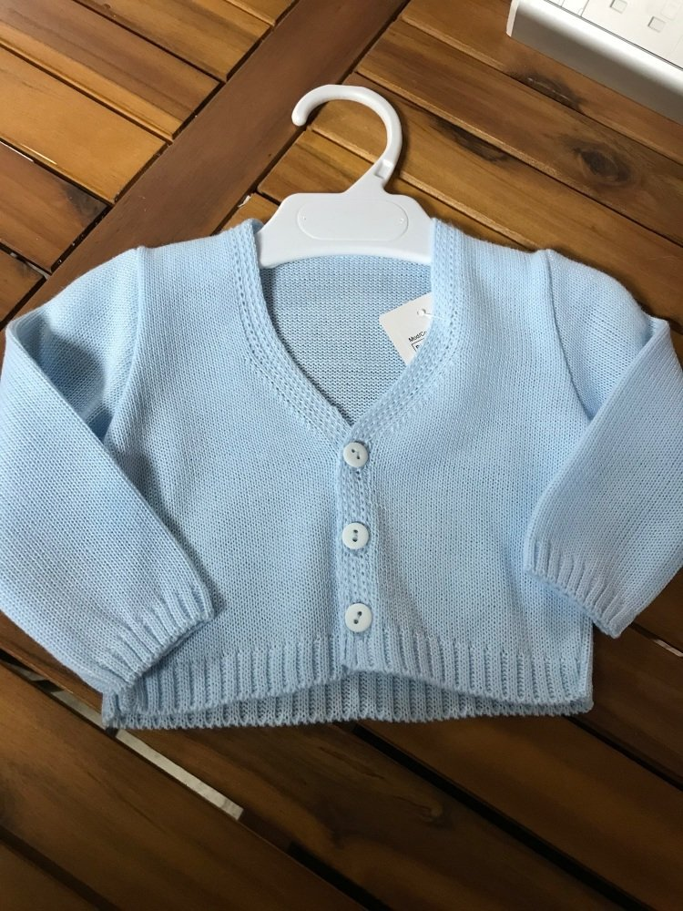 CLEARANCE PRICE Boys Cardigan B954 - Blue.  Available in 3m and 6m