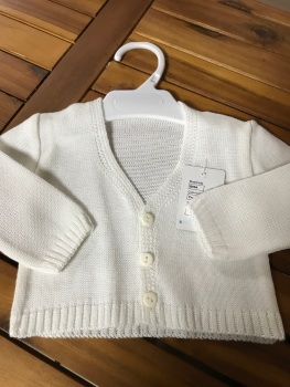 CLEARANCE PRICE Boys Cardigan B954 - Cream.  Available in 3m, 6m and 3 Years