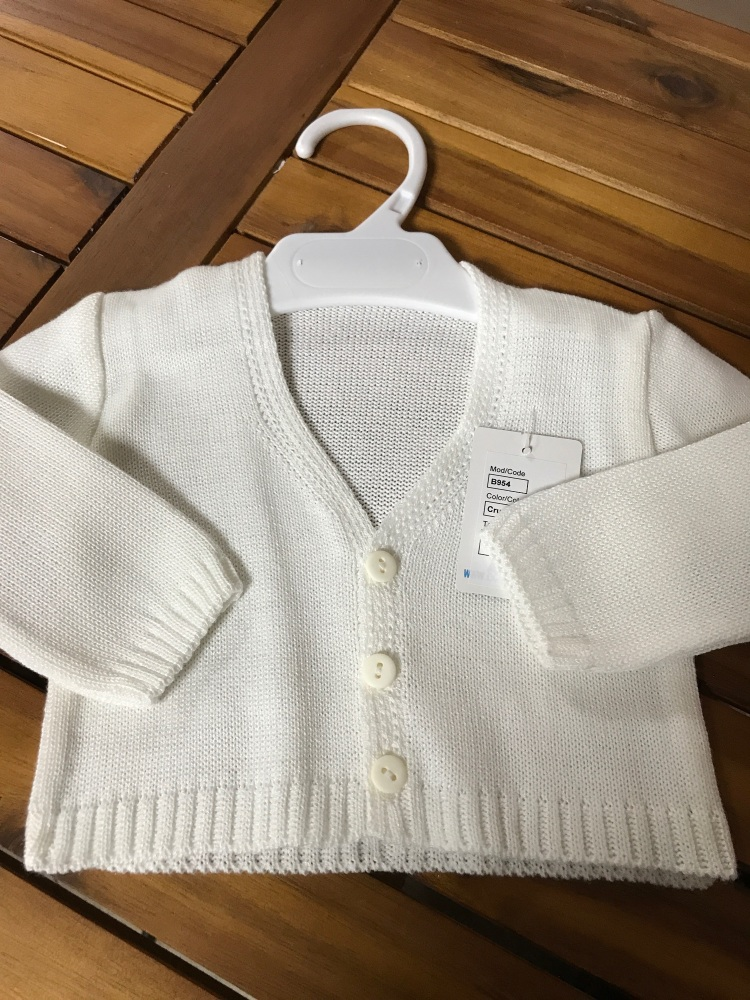 CLEARANCE PRICE Boys Cardigan B954 - Cream.  Available in 3m, 6m and 3 Year