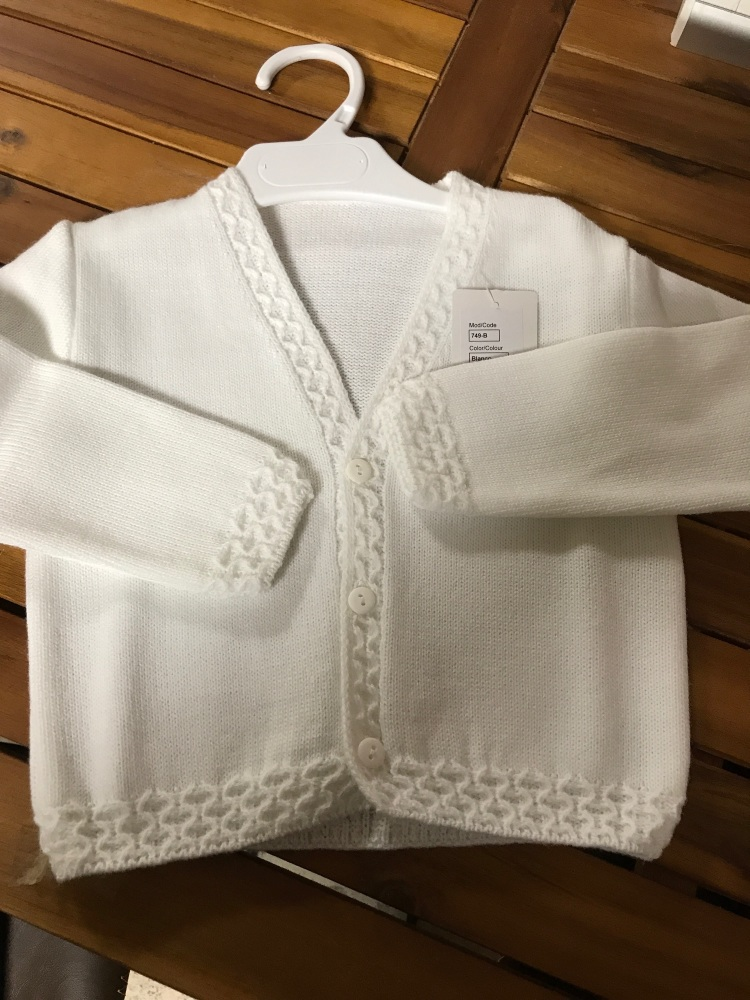 CLEARANCE PRICE Boys Cardigan 749 - White.  Available in 2 Years