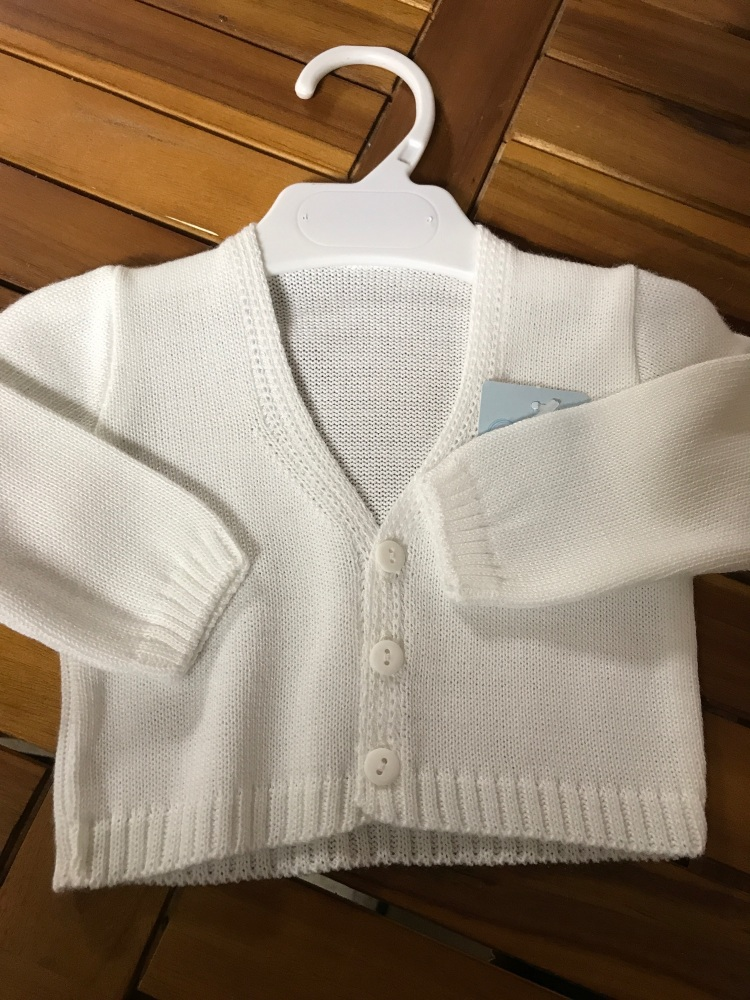 CLEARANCE PRICE Boys Cardigan B954 - White.  Available in 3m, 6m, 3 Years a