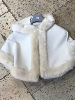 CLEARANCE PRICE Girls Fur Trimmed Cape - Medium 4-8 years