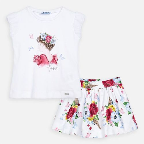Girls Mayoral Top and Skirt Set 3963 - Strawberry 65