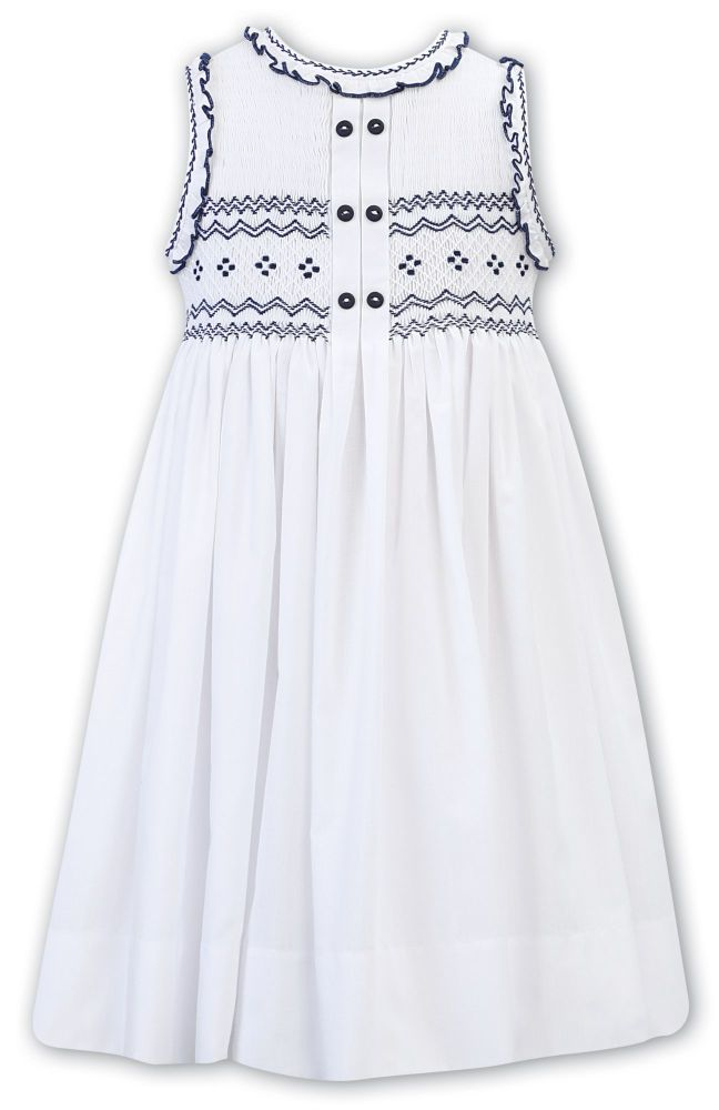 Girls Sarah Louise Dress 011865 - White and Navy