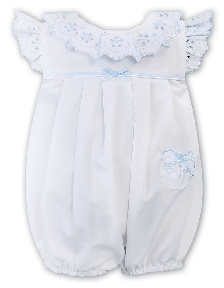 Girls Sarah Louise Romper 011877 White and Blue