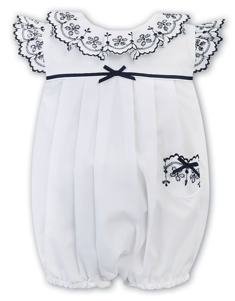 Girls Sarah Louise Romper 011877 White and Navy
