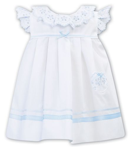Girls Sarah Louise Dress 011878 White and Blue