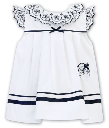Girls Sarah Louise Dress 011878 White and Navy