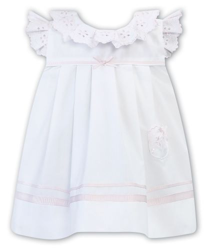 Girls Sarah Louise Dress 011878 White and Pink