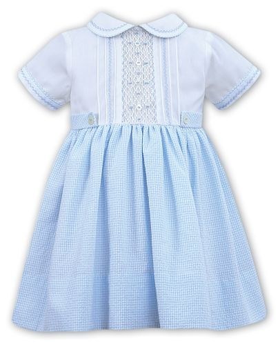 Girls Sarah Louise Dress 011914 White and Blue
