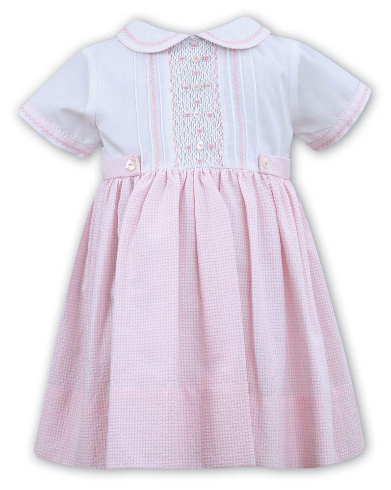 Girls Sarah Louise Dress 011914 White and Pink