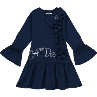 Girls A*Dee Blues Huda Sweat Frill Dress W204716