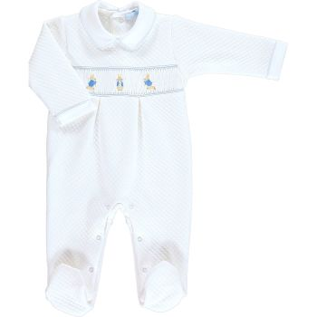 Peter Rabbit Collection Mini la Mode Peter Rabbit Smocked Footsie, Quilted - White and Blue SLBC82Q