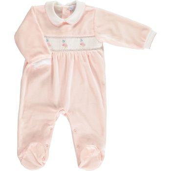 Peter Rabbit Collection Mini la Mode Jemima Puddle Duck Smocked Footsie SLBC99 - Pink Velour