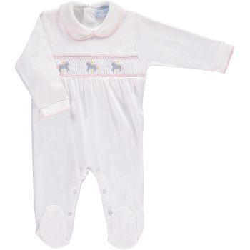 Mini la Mode Smocked Babygrow - Carousel Horse White and Pink