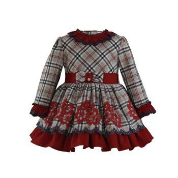 Girls Miranda Burgundy and Grey Dress 256