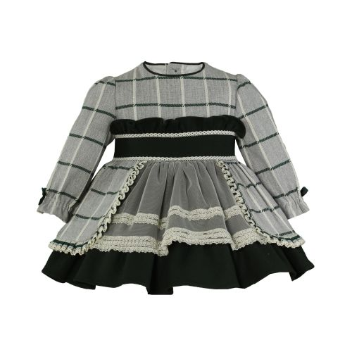 PRE ORDER AW20/21 Girls Miranda Grey and Green Dress 175