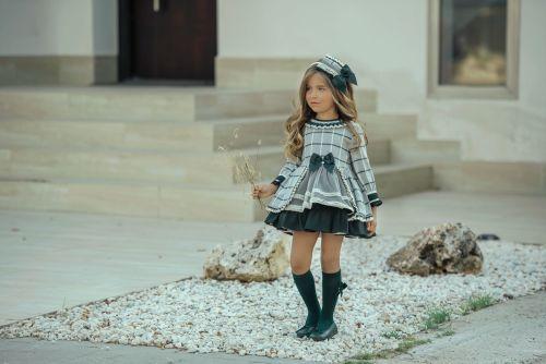 PRE ORDER AW20/21 Girls Miranda Grey and Green Dress 275