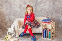 Girls Miranda Navy Tartan Dress 248