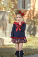 Girls Miranda Navy Tartan Dress 249