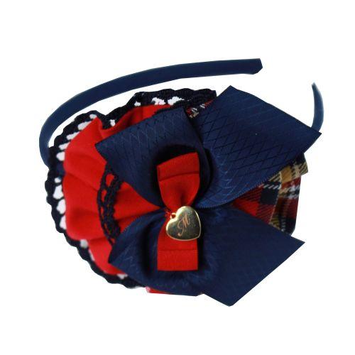 PRE ORDER AW20/21 Girls Miranda Navy Tartan Headpiece 248D