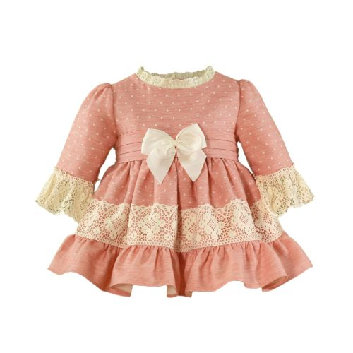 PRE ORDER AW20/21 Girls Miranda Peach and Cream Dress 129
