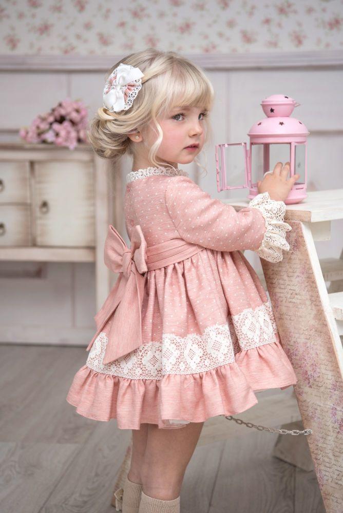 PRE ORDER AW20/21 Girls Miranda Peach and Cream Dress 229