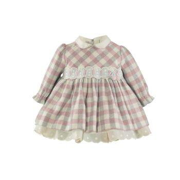 Girls Miranda Pink and Grey Check Dress 36