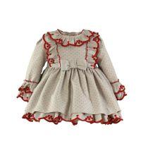Girls Miranda Red and Beige Dress 126